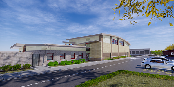 Rendering of front of AARF facility